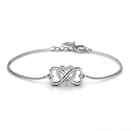 Personalised Triple Heart Infinity Bracelet