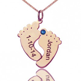 Engraved Baby Feet Imprint Necklace with Date Name 18ct Rose Gold Plated