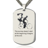 Couple Bicycle Dog Tag Name Necklace