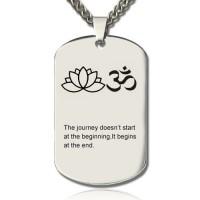 Yoga Theme,Lotus Flower Name Dog Tag Necklace