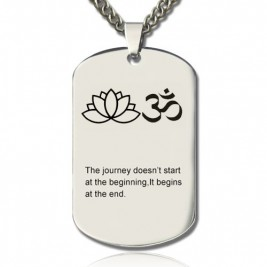 Yoga Theme,Lotus Flower Name Dog Tag Necklace
