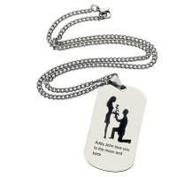 Marriage Proposal Dog Tag Name Necklace