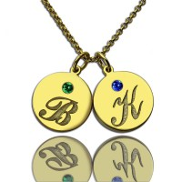 Engraved Initial  Birthstone Disc Charm Necklace 18ct Gold Plated