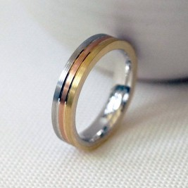 18ct Gold Striped Wedding Ring