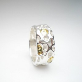 Coral Silver And Gold Ring