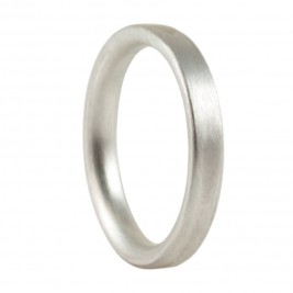 3mm Brushed Matte Flat Court Silver Wedding Ring