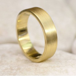 Mens 18ct Gold Wedding Ring, Spun Silk Finish