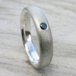 Mens Handmade Black Diamond Silver Ring