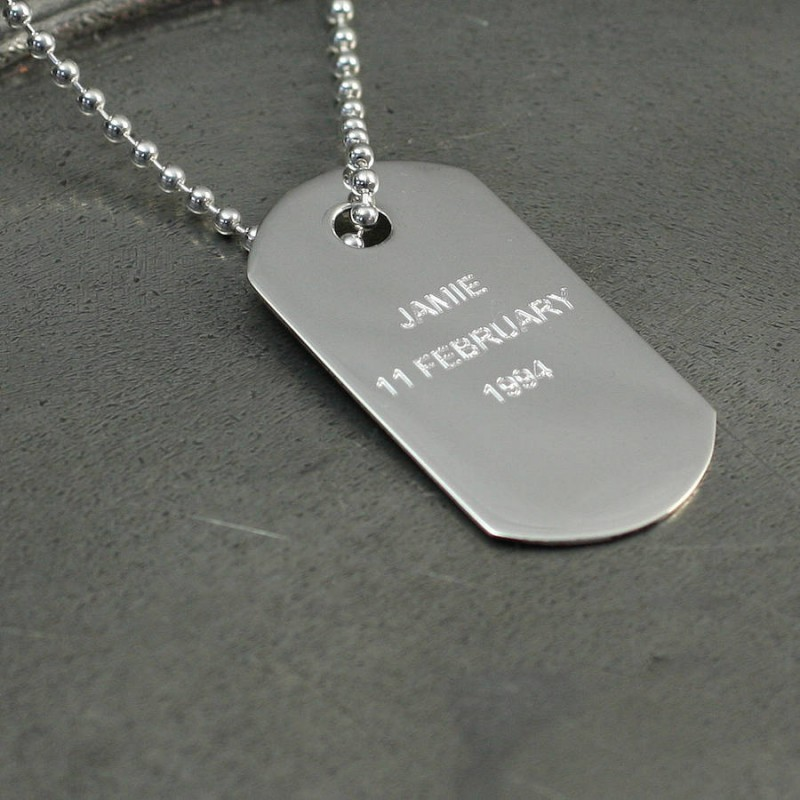 Personalised silver dog tag pendant aloadofball Images