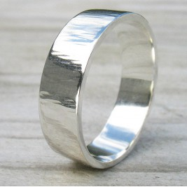 Hammered Silver Ring With Tree Bark Finish