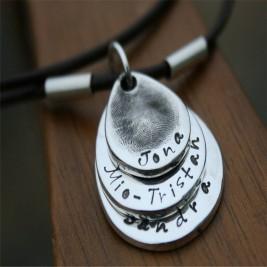 Teardrop Trio Mens Personalised Fingerprint Chain