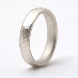 Thin Sterling Silver Hammered Ring