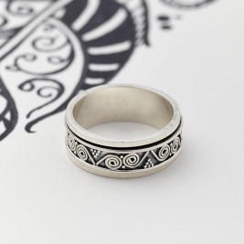 Mens Aztec Silver Spinning Ring