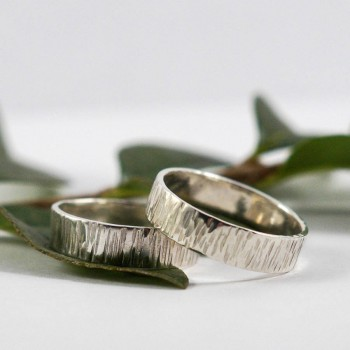 Bark Effect Rings In 18ct White Gold