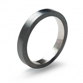 Black Sterling Silver Ring, 3mm Flat Band Oxidised