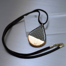 Carbon Fibre Tear Drop Pendant Necklace