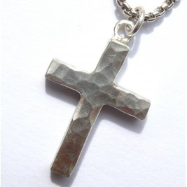 Chunky Hammered Silver Cross Necklace