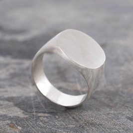 Extra Wide Mens Solid Silver/Gold Circular Signet Ring