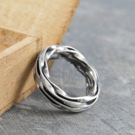 Chunky Mens Silver Oxidised Wrap Ring