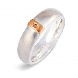 Cognac Diamond Linear Ring