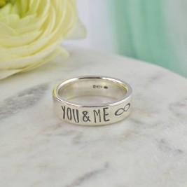 Couples Personalised Silver Band