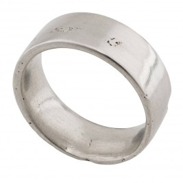 Sterling Silver Flat Sand Cast Wedding Ring