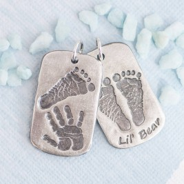 Footprint Handprint Personalised Mens Dog Tag Necklace - Two Pendants