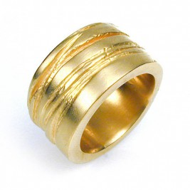 Wide Silver Texture Bound Ring In 18ct Gold Plated