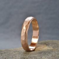 Handmade 18ct Rose Gold Hammered Wedding Ring