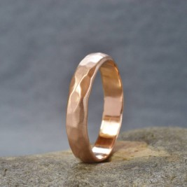 Handmade 18ct Rose Gold Hammered Wedding Ring