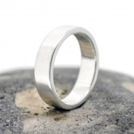 Handmade Satin Silver Rectangular Wedding Ring