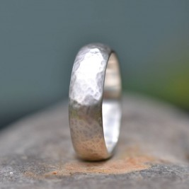 Handmade Silver Wedding Ring Lightly Hammered Finish