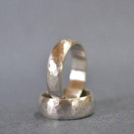 Handmade Silver Wedding Ring With Hammered Finish