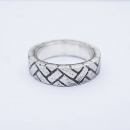 Herringbone Brick Silver Ring