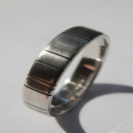 Mens Silver Barcode Oxidized Ring