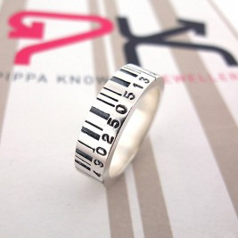 Medium Silver Barcode Ring