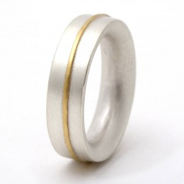 Medium Sterling Silver Ring With 18ct Gold Detail