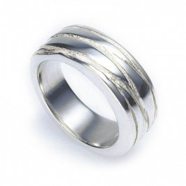 Silver Texture Bound Ring