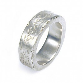 Medium Silver Concrete Ring