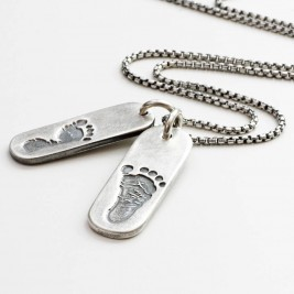 Mens Double Footprint Tag Necklace