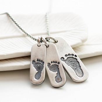 Mens Footprint Trio Tag Necklace