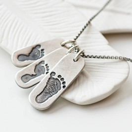 Mens Footprint Trio Tag Necklace