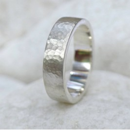 Mens Hammered Ring, Silver Or 18ct Gold