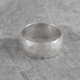 Mens Hammered Sterling Silver Ring