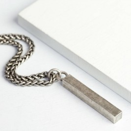 Mens Metal Bar Necklace