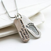Mens Personalised Footprint Tag Necklace