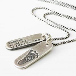 Mens Personalised Footprint Tag Necklace