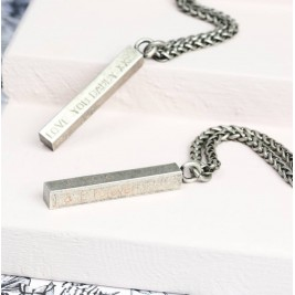 Mens Personalised Sterling Silver Solid Bar Necklace, Men's Square Bar Necklace, Personalized Jewelry, Hand Stamped Bar Necklace