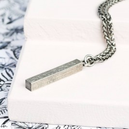 Mens Personalised Solid Bar Necklace, Men's Square Bar Necklace, Personalized Jewelry, Hand Stamped Bar Necklace