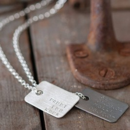 Mens Personalised Silver Tag Necklace